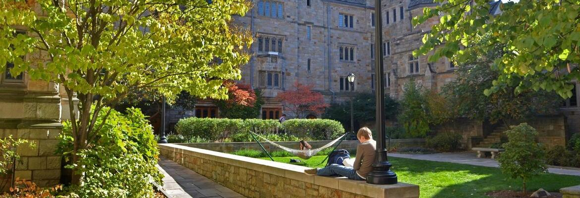 A courtyard at Yale