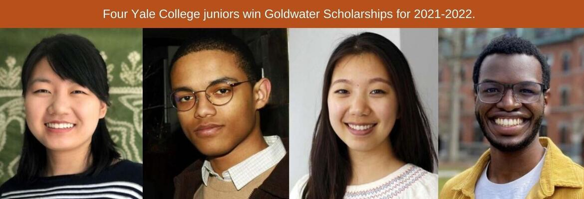"""Four Yale College juniors are among the 410 college students from across the nation to receive Goldwater Scholarships for the 2021-2022 academic year. <a href=""""https://news.yale.edu/2021/04/07/stem-focused-juniors-win-goldwater-scholarships"""">Learn more</a>"""